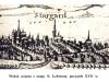 panorama Stargardu na mapie Lubinusa, początek XVII wieku
