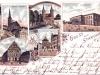 Pozdrowienia ze Stargardu, pocztówka wielotematyczna, chromolitografia, ok. 1900