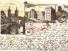 Pozdrowienia ze Stargardu, pocztówka wielotematyczna, litografia tonowana na zielono