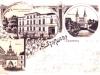 Pozdrowienia ze Stargardu, pocztówka wielotematyczna, litografia, ok. 1900